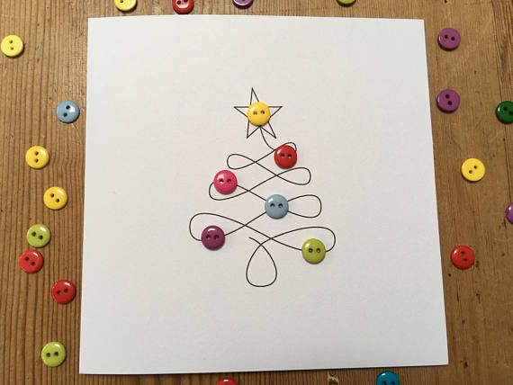 Christmas Card - Christmas Tree with Button Baubles - Paper Handmade Greeting Card - Holiday Card This is a simple but effective design of a swirly christmas tree with cute colourful buttons for baubles. This card is also available in a set of 4 and 12 cards. 4 cards: