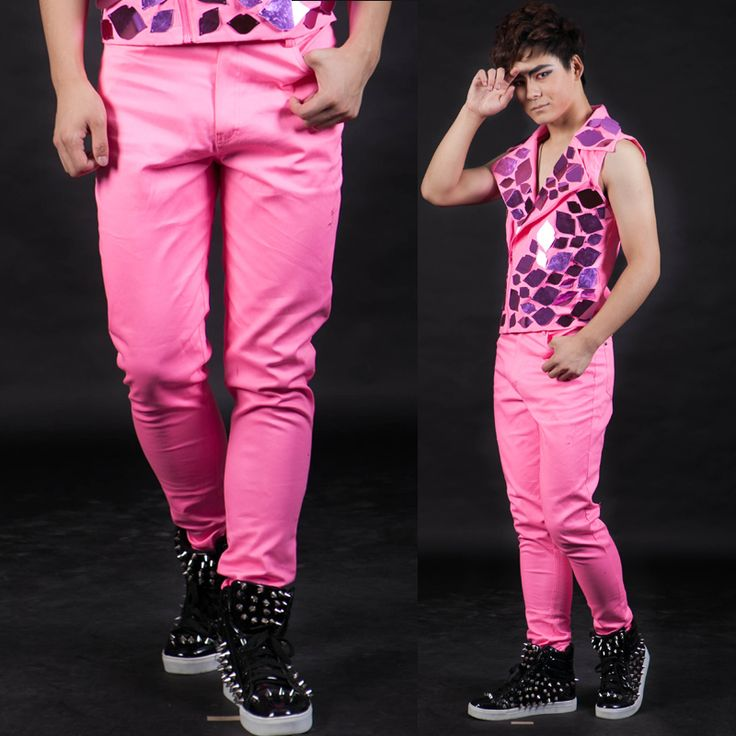 >> Click to Buy << Nightbar  Fashion Male singer pants men's personality ds pink casual trousers #Affiliate