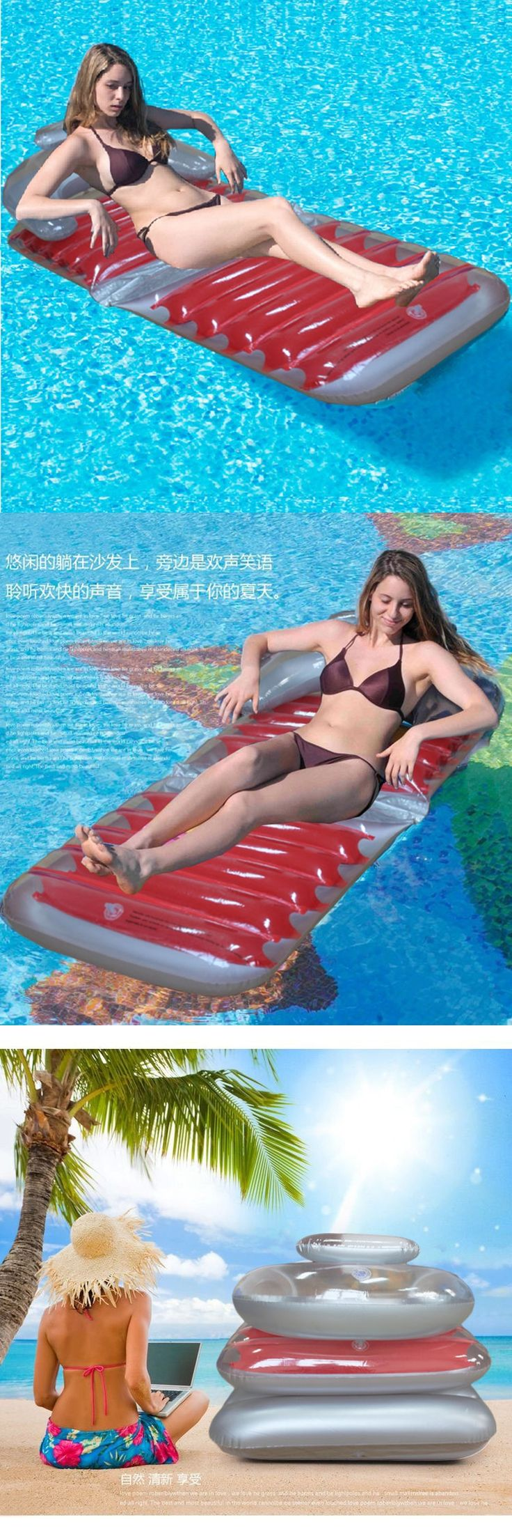 2017 New Foldable Red Inflatable Pool float Comfortable Inflated Chair Floating Bed Lounge Beach Pool Raft Air Mattress PVC
