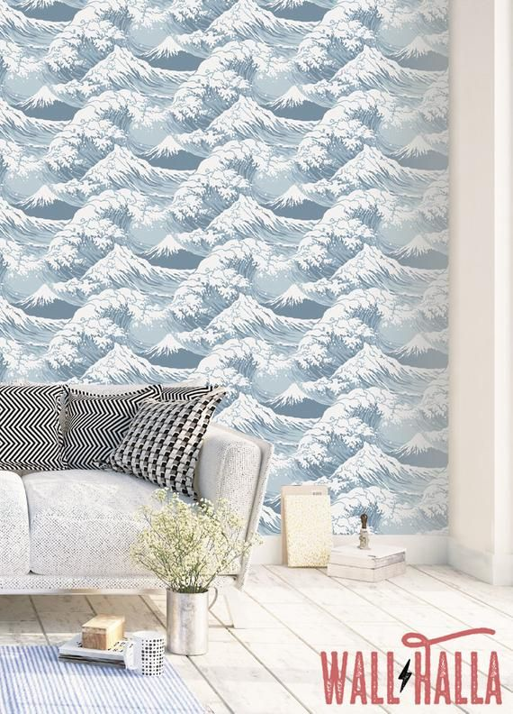Seamless Self Adhesive Great Wave Pattern Wallpaper Removable Etsy Pattern Wallpaper Wave Pattern Temporary Wallpaper