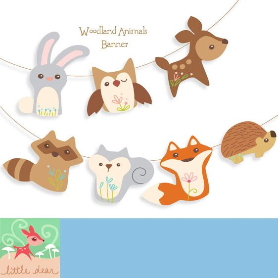 Printable Woodland Animals Banner