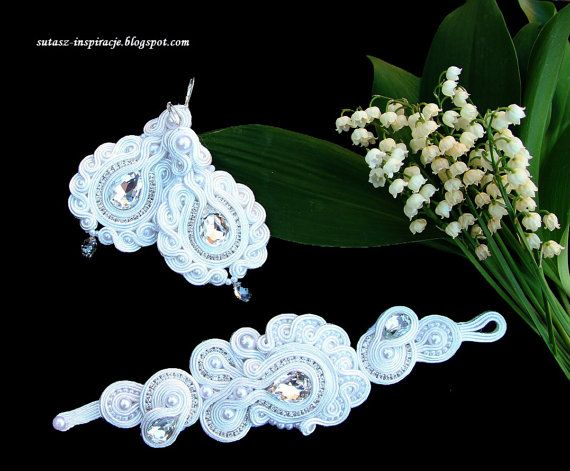 Wedding bridal long soutache earrings with by SutaszoweInspiracje