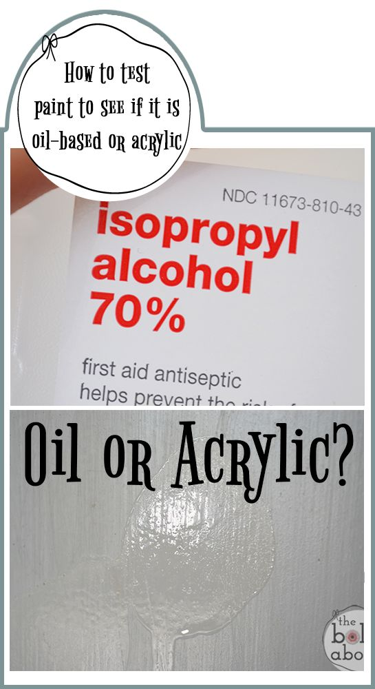 How to test paint to see if it is oil-based or acrylic.