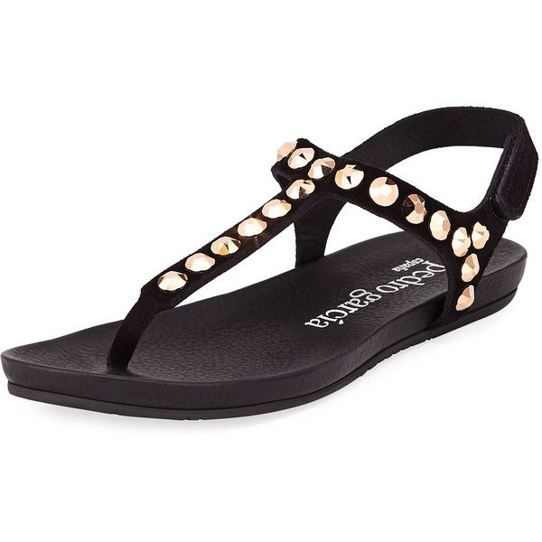 Pedro Garcia Judith Jeweled T-Strap Sandal ($212) ❤ liked on Polyvore featuring shoes, sandals, black, t-strap sandals, black t strap flats, black jeweled sandals, black flats and black strap sandals