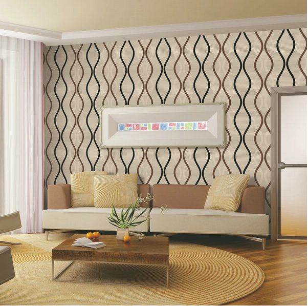 Waves Lines Strips Metallic Geometric wallpaper for wall pvc wall paper background wall Modern wallpaper roll W536