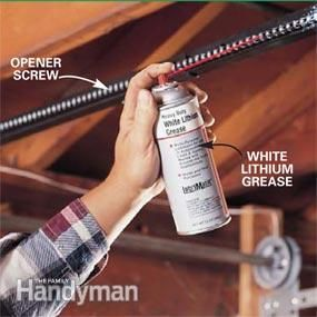 Lubricate the chain or the screw on your opener annually with white lithium grease. Spray-on versions are available at most home centers. Lubrication will make the opener's operation smoother, quieter and extend the life of both chain and opener.