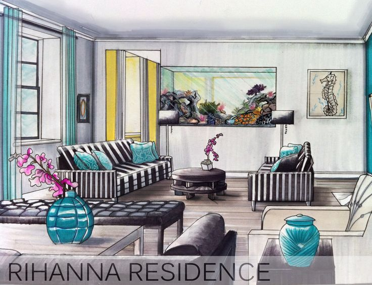 Interior Design hand rendering by TamaraBinteriors.
