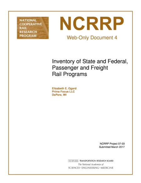 Inventory of State and Federal Passenger and Freight Rail Programs  Final Book Now Available  TRB's National Cooperative Rail Research Program (NCRRP) Web Only Document 4: Inventory of State and Federal Passenger and Freight Rail Programs explores rail funding trends and objectives a program taxonomy an inventory of federal and state programs and case studies to highlight rail funding innovation in practice.  The Matrix of Rail Programs includes information about 379 state and federal…