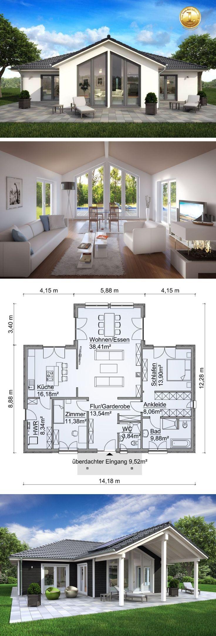 Bungalow Haus modern mit Walmdach Architektur, Erk…