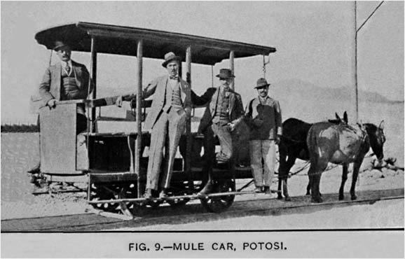 Potosí (Bolivia). La Fig. 9, que acompaña el texto de Smith, muestra el mismo carro a mulas. Su origen es desconocido, fue construido probablemente a partir del carro de carga adquirido de St. Louis en 1912. [Smith, p. 28: ver BIBLIOGRAFÍA] Courtesy: Allen Morrison, New York (USA).