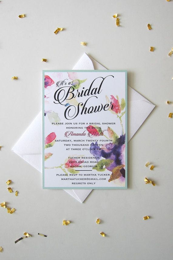 This is a floral bridal shower invitation that can also be used as a bridal luncheon or birthday party invitation. This invitation is printed on
