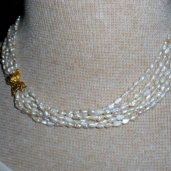 Vintage Cultured Freshwater Rice Pearl Necklace Six