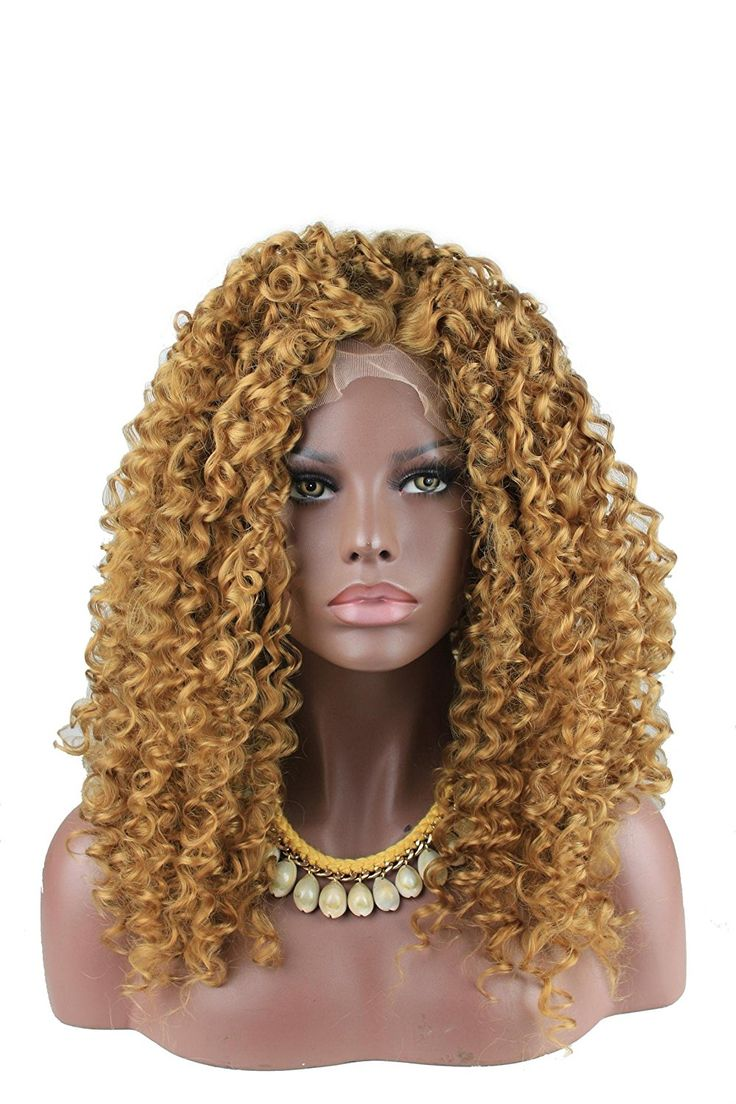 eseewigs Cheap Oro/Marrone Resistente Al Calore Capelli Kinky Curly Sintetico Lace Front Parrucca per, Nero Donna Parte Biondo Parrucca Cosplay: Amazon.it: Bellezza