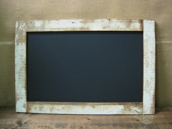 large framed chalkboard made from reclaimed porch boards 24x36 distressed white cream - White Framed Chalkboard