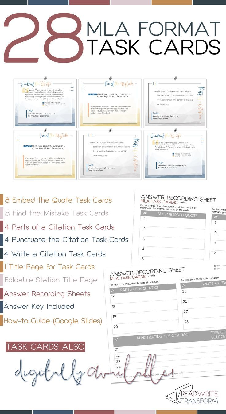 A set of 28 cards for MLA format and citation. The perfect way to practice  how to embed quote…   Task cards [ 1349 x 736 Pixel ]