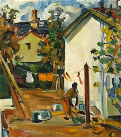 The backyard, Irma Stern's house at Rosebank, Cape Town by Irma Stern