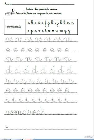 A cette époque de l'année, l'apprentissage de l'écriture des lettres commence sérieusement par l'écriture en lettres cursives des prénoms et des jours de la semaine. Je propose alors conjointement des activités de lecture: Reconnaissance des lettres composant...