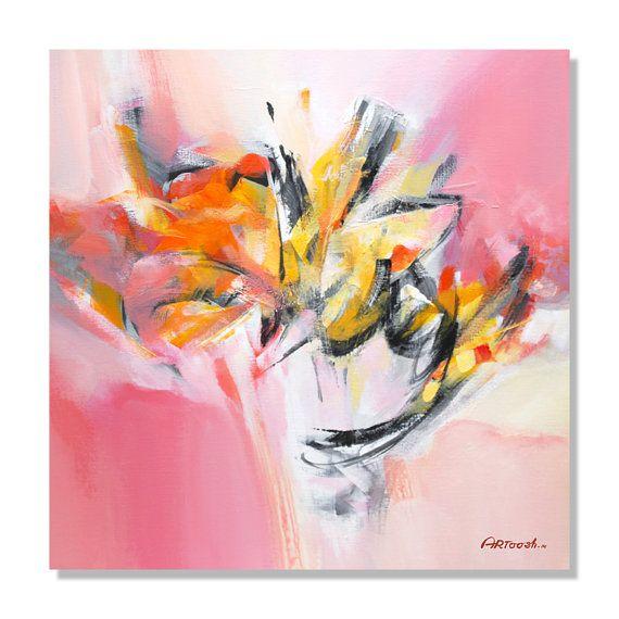 Peinture rose, jaune, orange, blanc, Peinture abstraite, Peinture moderne