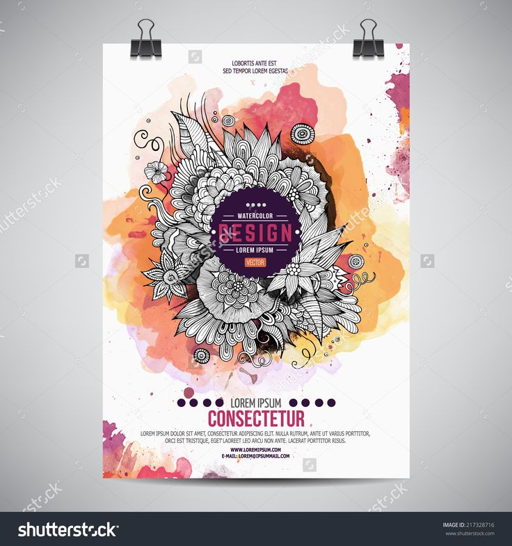 Vector Template Poster With Watercolor Paint Floral Abstract Background - 217328716 : Shutterstock