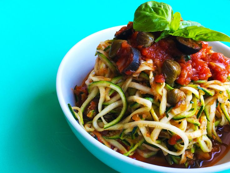 Paleo Pasta Courgetti with Vegan Puttanesca Sauce by Greens of the Stoneage.
