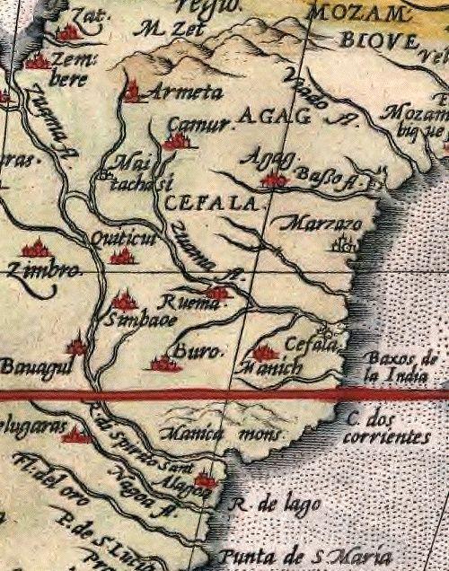"""Great Zimbabwe appears on Abraham Ortelius' 1570 map Africae Tabula Nova, rendered """"Simbaoe"""""""