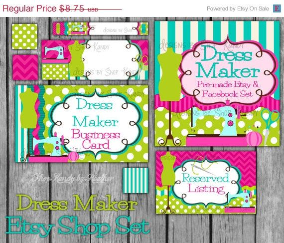 Boutique Banner Set - Etsy and Facebook  - Dress Maker - 8 Piece Set - Sewing, Sewn - Instant Download - pinned by pin4etsy.com
