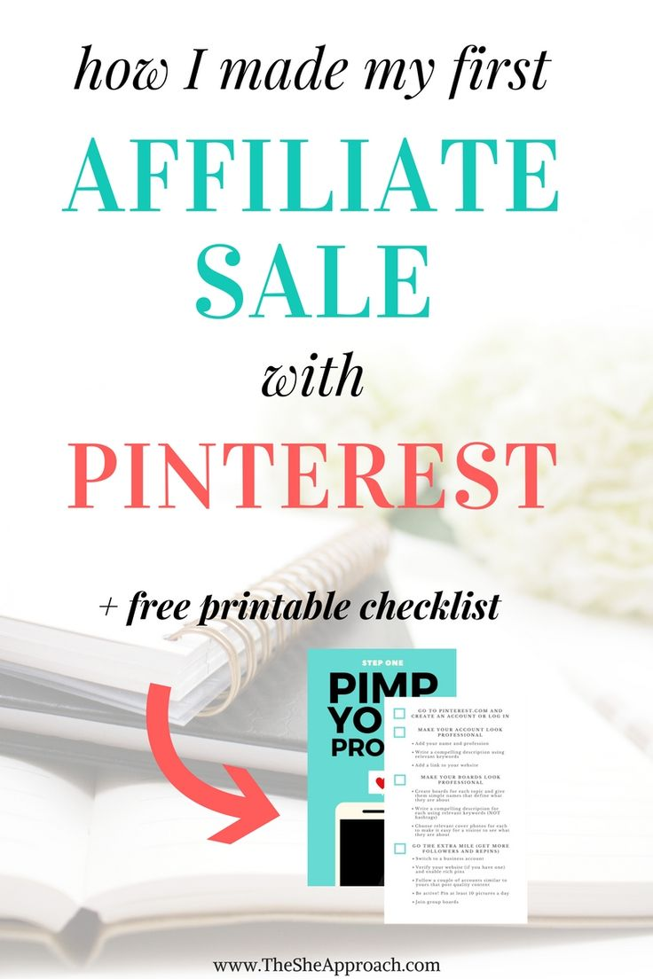 Did you know you can make money online by using a combination of Pinterest and affiliate marketing? Learn all about how I implemented affiliate links on pinterest, brought traffic to my blog and my my first affiliate sale. A great strategy for bloggers to earn income online, grow their pinterest and blog traffic and make money with affiliate marketing. Get your free checklist and start making money with Pinterest!