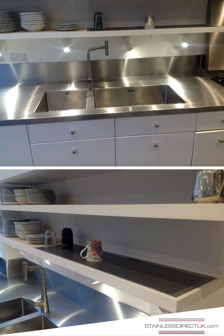 When entertaining, the space to clean up is vital. The client chose some beautiful sinks, with small radius on the corners, welding them in seamlessly making them easy to clean.  Creating the bespoke draining area within the shelf was a special touch, with the perforated tray allowing cups and glasses to be drained away from the main work surface retaining elegance and practicality.