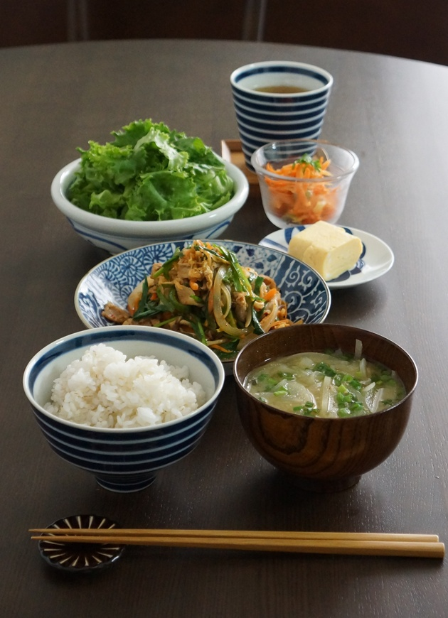 Home-cooked Japanese Dish for Holiday Lunch (Stir-fried Vegetables as Main, Egg Omelet, Rice, Miso Soup, Salad)