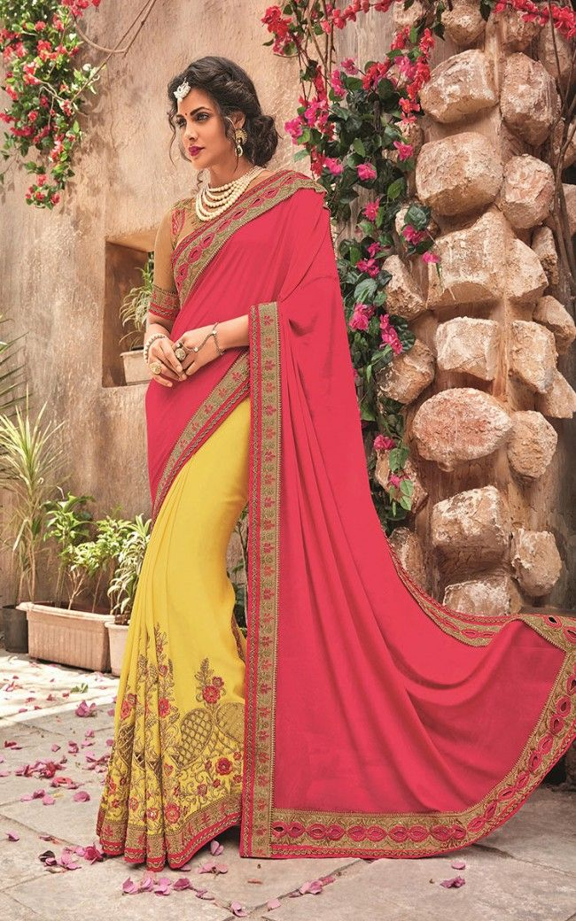 61463e35fdf520 Buy Silk Yellow Pink Designer Saree Online