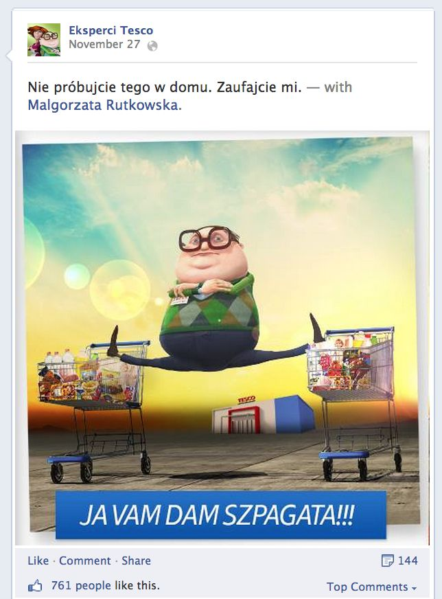 Eksperci #Tesco w odpowiedzi na szpagat (Epic split) z reklamy #Volvo. #Facebook