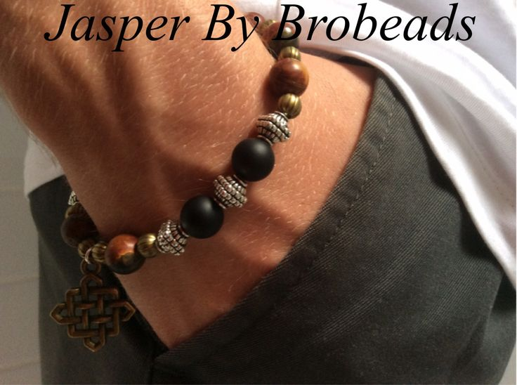 Mens bracelet Using Black Agate,Picasso Jasper with Silver Tibetan spacers distinctive Antique Bronze lattice Charm.OOAK.32.00+ p&h  Lindagschaller@gmail.com