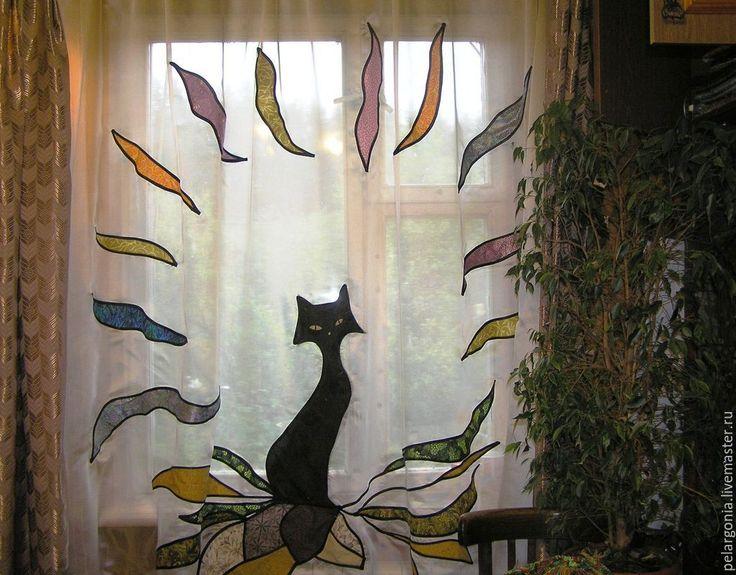 """Купить Шторы лоскутные """"Черная кошка""""(пэчворк,аппликация,витраж) - лоскутные шторы, пэчворк, лоскутное шитье"""