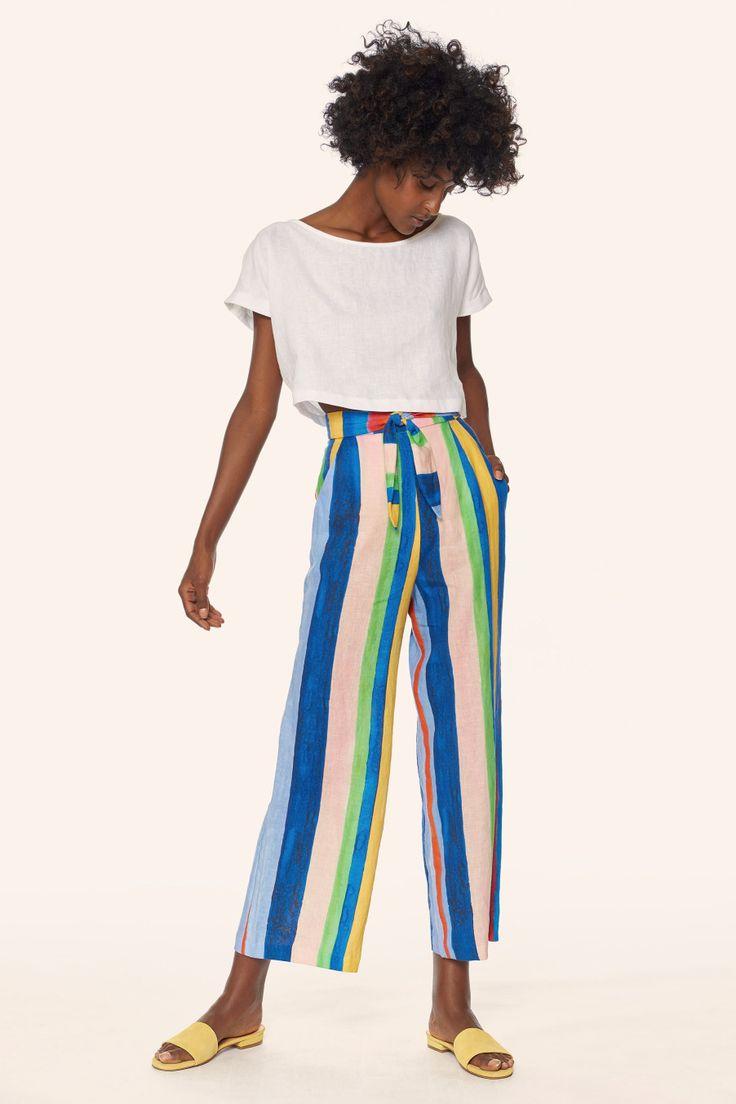 crop top + crazy pants + marais slides