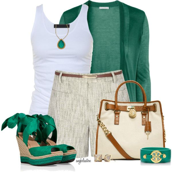 """""""Spring Essential: White Tank and Belted Shorts"""" by angkclaxton on Polyvore"""