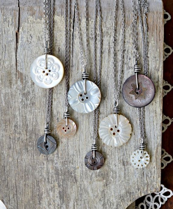 Mother of pearl button pendants