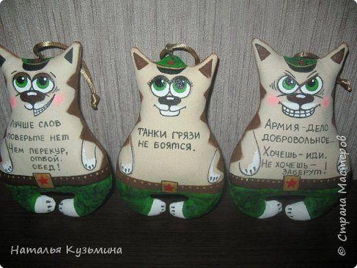 Игрушка Куклы 23 февраля Шитьё Коты солдаты и др Краска Мех Мешковина Ткань Фарфор холодный фото 1
