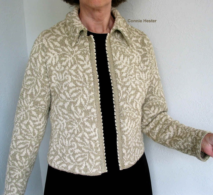 """Stranded Knit Jacket Pattern with Chanel Collar by Connie Hester  Sizes from 35"""" - 61""""  $14"""