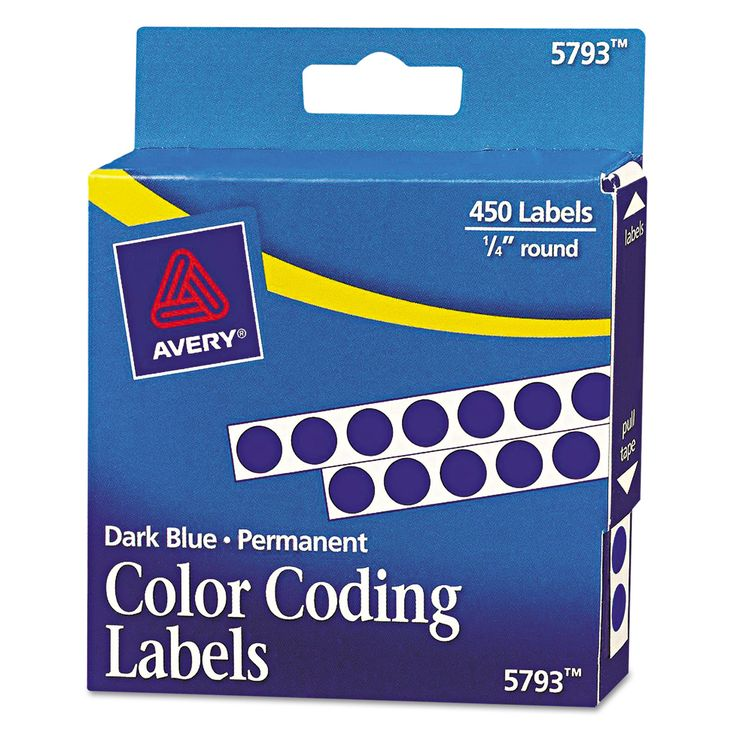 """Avery Permanent Self-Adhesive Round Color-Coding Labels, 1/4"""" dia, Dark Blue, 450/Pack"""