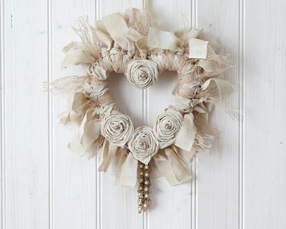 Heart Wreath Country Style Decor Valentines Day Wreath