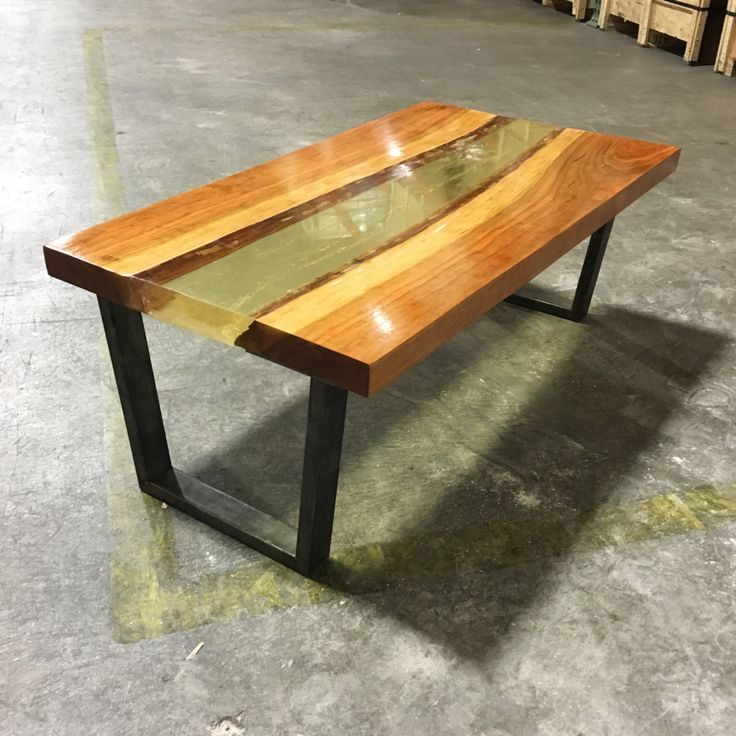 Vintage Industrial Live Edge Walnut Slab Coffee Table: Wood Slab, Epoxy And Vintage
