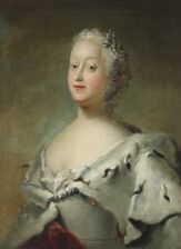 1650/11 - Carl Gustav Pilo, school of, 18th century: Portait of Queen Louise wearing an ermine cape. Oil on canvas. 75 x 55 cm.