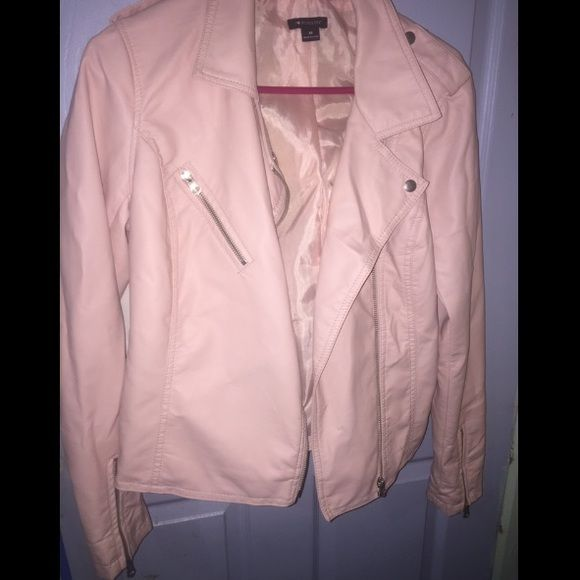 light pink faux leather jacket Soft faux leather, true light pink, never worn, sleeves open up wider for easy roll up, Charlotte Ronson for JcPenney Charlotte Ronson Jackets & Coats