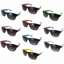 Fashion Eyewear Unisex Wayfarer Style Multi-Color Sunglasses. These two toned sunglasses feature a wayfarer style design with a saddle nose and plastic materials. These sunglasses are for general use and offers UV 400 Protection. The arm measures approximately 142 mm, the lens width measures approximately 50 mm, the nose bridge measures approximately 13 mm.