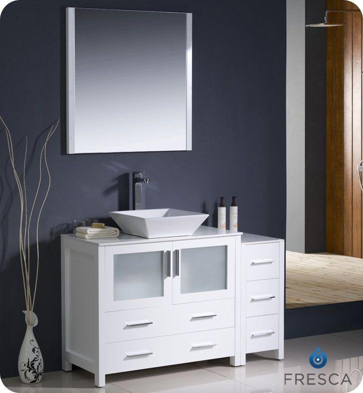 Inspiration Web Design Fresca White Vessel Sink Bath Vanity Side Cabinet Mirror u Faucet