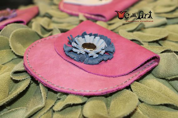 Pink Handmade Genuine Leather Wallets Coin Pouches