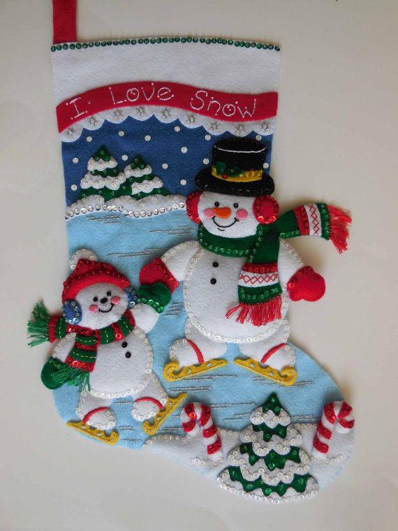 Finished Christmas Stocking - Snowman Skating
