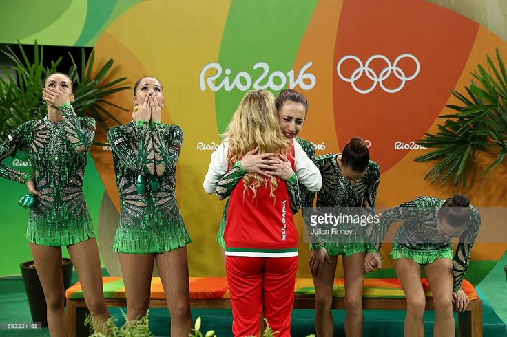 Reneta Kamberova, Lyubomira Kazanova, Mihaela Maevska, Tsvetelina Naydenova and Hristiana Todorova of Bulgaria react after winning bronze during the Group All-Around Final on Day 16 of the Rio 2016 Olympic Games at Rio Olympic Arena on August 21, 2016 in Rio de Janeiro, Brazil.