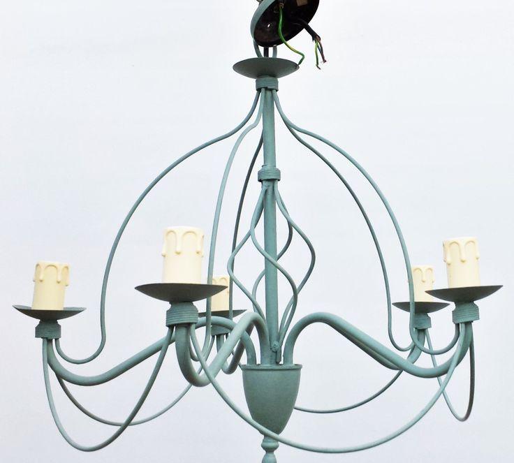 Gorgeous Dark Duck Egg 5 Light Ornate Birdcage Ceiling