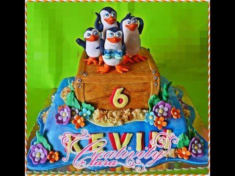Tutorial Madagascar cake torta decorata in pasta di zucchero pinguini madagascar - YouTube